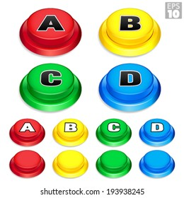 Arcade Buttons In Red, Yellow, Green, and Blue Colors For Retro Games.