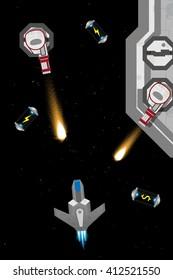 Arcade computer game screen concept. Spaceship in action.