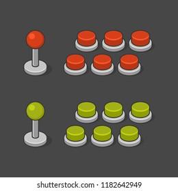 Arcade Game Machine Buttons and Joystick Set. Vector
