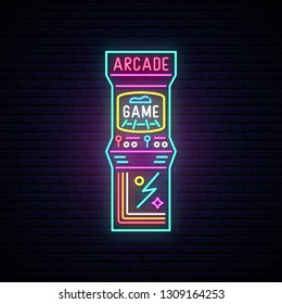 Arcade game machine neon sign. Entertainment emblem. Advertising design. Night light signboard. Vector illustration.