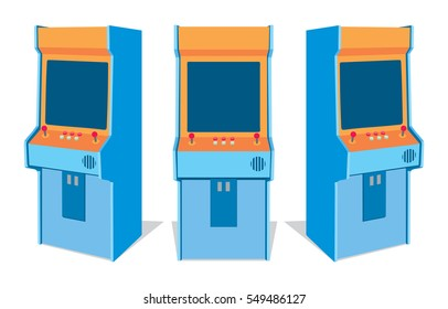 Arcade game machine on white background. Set of old game machines from different sides. Isolated vector image.