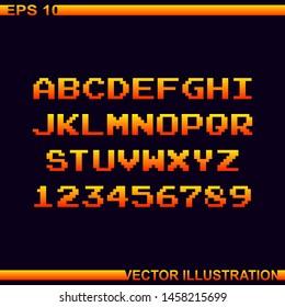 Arcade game pixel alphabet font and numbers.Pixel alphabet.Vector Illustration.Dark purple background.