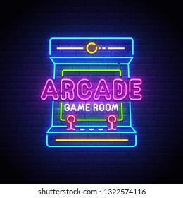 Arcade Games neon sign, bright signboard, light banner. Game logo neon, emblem. Vector illustration