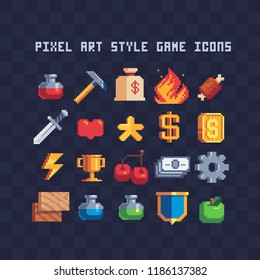 Arcade icons. Set of 8-bit elements, attainment, life bar, progressor, stamina, power, energy, mana level, money reserve vector illustrations. Retro, pixel elements for game designs. Gaming interface.