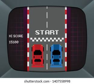 Arcade machine screen with retro video game, vector background