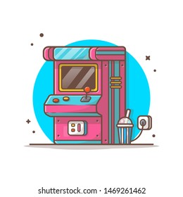 Arcade Machine with Soda Vector Illustration. Child Zone. Drink. Playing Arcade Game Icon Logo. Coin. Winner. Flat Cartoon Style Suitable for Web Landing Page, Banner, Flyer, Sticker, Card, Background