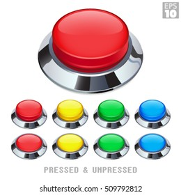 Arcade Push Buttons With Chrome Bezel Pressed and Unpressed Various Colors