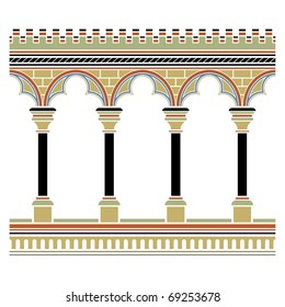 Arcade seamless. Drawn in medieval style