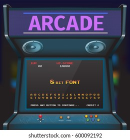 Arcade Video Game Font. 8 bit font. Arcade Retro Machine.