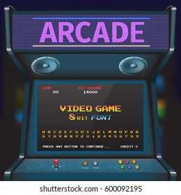 Arcade Video Game Font. 8 bit font. Arcade Retro Machine.