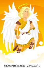Arch angel michael cartoon illustration