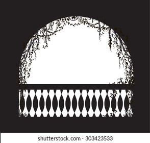 arch balcony with curl vines and plant, silhouette, shadows, background
