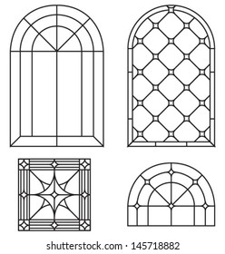 Arch, border and abstract seamless ornament, a set of classic stained glass window design silhouettes, templates, vector