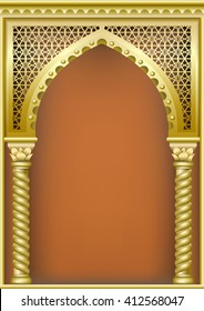 Arch of gold in the oriental style with Arabic traditional ornaments