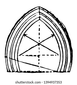 Arch horseshoe abutment series economical vintage line drawing or engraving illustration