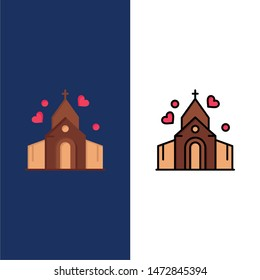 Arch, Love, Wedding, House  Icons. Flat and Line Filled Icon Set Vector Blue Background