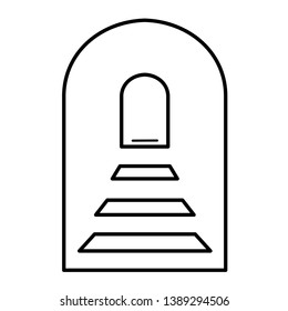 The arch and steps rising up as a symbol of the underworld, portal, the gate to heaven