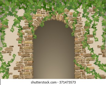 Arch of stones and hanging ivy. Entrance to the cave or cellar wreathed with  vines. (vector texture of stone contains elements auto-tracing)