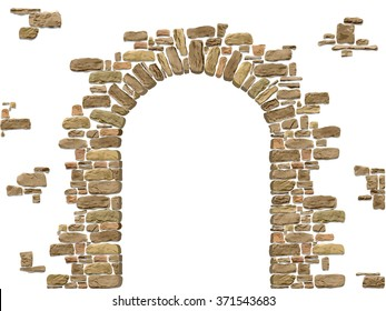 Arch of stones isolated on white background. Entrance to the cave or cellar.