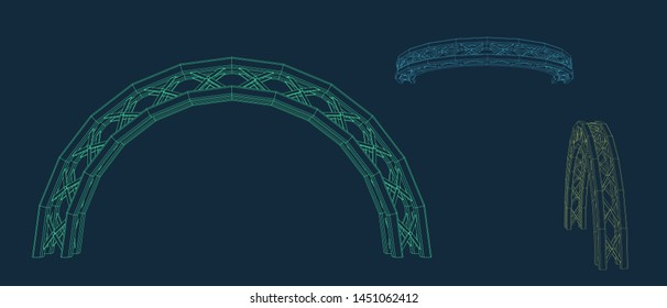 Arch Truss. Vector outline illustration. Different viewes.