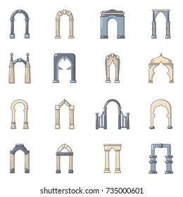 Arch Types Icons Set Cartoon Illustration Of 16 Vector For Web