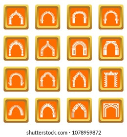 Arch types icons set vector orange square isolated on white background