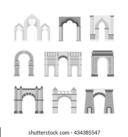 Arch vector set and architecture ancient frame arch
