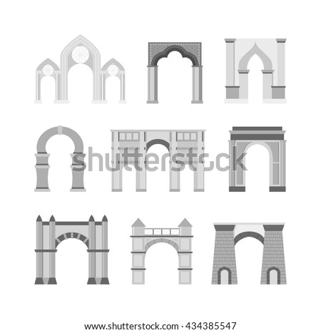 Arch Vector Set Architecture Ancient Frame Stock Vector (Royalty ...