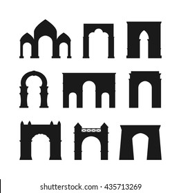 Arch vector set black silhouette and architecture ancient frame arch