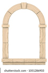 Arch in the wall of beige cut stone and travertine marble for a window or door in the classic style