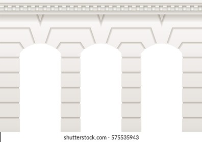 Arch in the wall of white cut stone and travertine marble for a window or door in the classic style