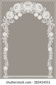 Arch. White Lace. Beige Backgrounds.