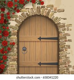 Arch wooden door and rosebush