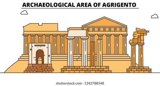 Archaeological Area Of Agrigento  line travel landmark, skyline, vector design. Archaeological Area Of Agrigento  linear illustration.