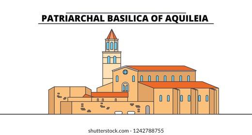 Archaeological Area -Patriarchal Basilica Of Aquileia  line travel landmark, skyline, vector design. Archaeological Area -Patriarchal Basilica Of Aquileia  linear illustration.