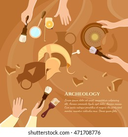 Archaeological excavation achaeologists unearth ancient history ancient artifacts vector illustration