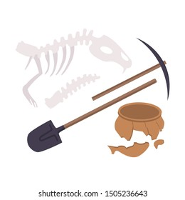 Archaeological Excavation Tools and Prehistoric Fossils, Pickaxe, Shove, Animal Skeleton, Ceramic Crocks Flat Vector Illustration