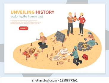 Archaeological exploration of historical artifacts isometric concept of web banner on white background  vector illustration