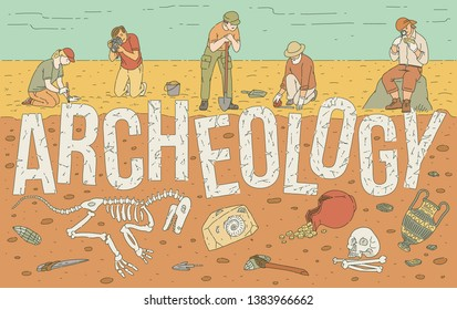 Archaeological exploration of historical artifacts template for web banner with inscription sketch style cartoon vector illustration. Educational and scientific concept.