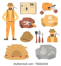 Archaeologist and archeology color flat icons set