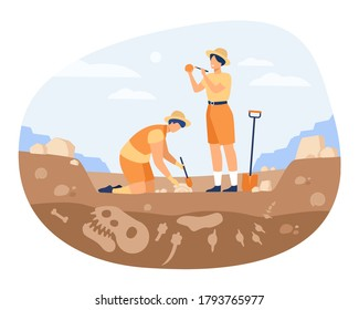 Archaeologist discovering dinosaurs remains. Men digging ground in quarry and cleaning bones. Vector illustration for archeology, paleontology, science, research concept