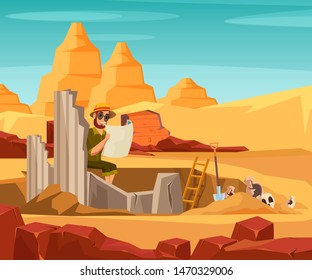 Archaeologist discovers old building illustration. Ancient city architecture exploring. Archeological excavation, history science expedition flat vector drawing. Historian reading map character