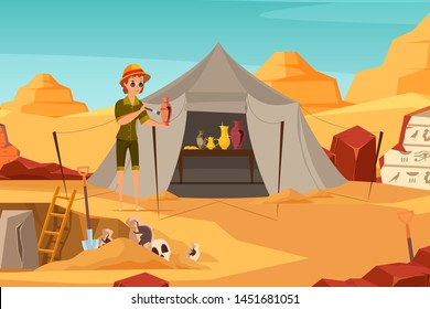Archaeologist exploring artifact flat illustration. Archeological excavation, scientific expedition flat vector drawing. Historian female cartoon character cleaning ancient clay amphora with brush