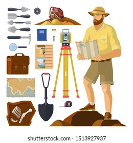 Archaeologist near archaeology items, dig equipment. Archeology explorer and skeleton fossil, archeologist pick and brush, bag and map, bones, antique vase, level tripod, hat. Excavation, paleontology
