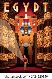 The archaeologist in Pharaoh's tomb with columns and statue in the background. Egypt travel vintage poster. Handmade drawing vector illustration.