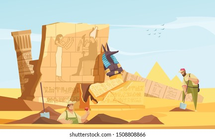 Archaeologists discover ancient egyptian tombs flat composition with digging revealing burial chamber walls afterlife god figure vector illustration