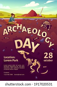Archaeology day poster with woman explorer on excavation site and buried dinosaurs underground. Vector flyer with cartoon illustration of archeology dig, explorer with brush and fossil skeletons