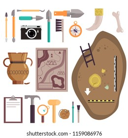 Archaeology icon set. Vector illustration of archaeological site, ancient artifacts, archaeological tools isolated on white background.