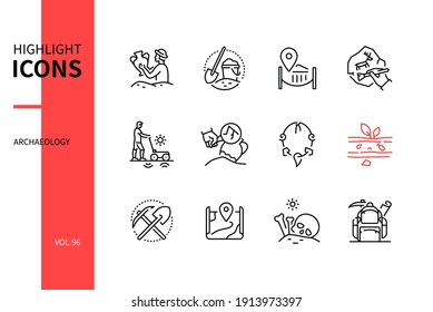 Archaeology - modern line design style icons set. Archaeological discovery, work process and equipment. Archaeologist, excavation, brush, artefact, stratification, map, human remains, expedition image