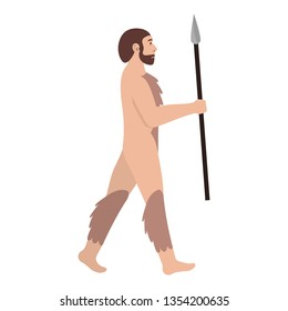 Archaic human holds spear. Neanderthal. Homo erectus. Isolated vector illustration